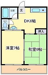 大阪府大阪市住吉区庭井2丁目の賃貸マンションの間取り