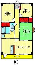 千葉県柏市あけぼの5丁目の賃貸マンションの間取り