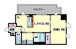 ネベル大阪上本町 2階1LDKの間取り