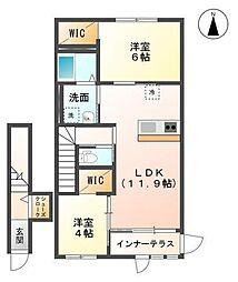 袖ケ浦市代宿88番6他新築アパート[205号室]の間取り