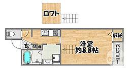 クレスト京橋 4階1Kの間取り