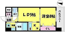 WOB京橋 5階1LDKの間取り