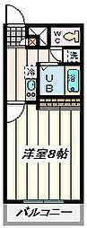 JR埼京線 北与野駅 徒歩17分の賃貸マンション 3階1Kの間取り