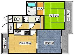 プレア南武庫之荘[401号室]の間取り