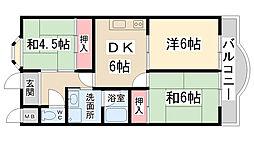 兵庫県伊丹市瑞穂町6丁目の賃貸マンションの間取り