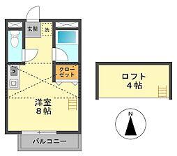 東京都江戸川区北小岩6の賃貸アパートの間取り