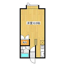 ハウスU2 2階ワンルームの間取り