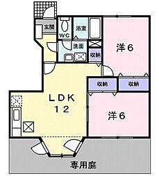 静岡県浜松市浜北区根堅の賃貸アパートの間取り