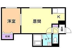 ノーブル円山 2階1LDKの間取り