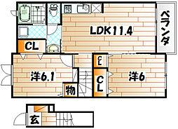 エステート桜II[2階]の間取り
