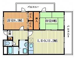 ロイヤルコート歌島[7階]の間取り