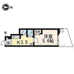 JR山陰本線 太秦駅 徒歩4分の賃貸アパート 1階1Kの間取り