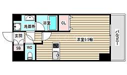 AXIS UMEKITA 2階ワンルームの間取り
