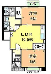 ハーブメゾン多田 A[106号室]の間取り