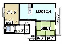 レスパス デュルポ堀内A[2階]の間取り