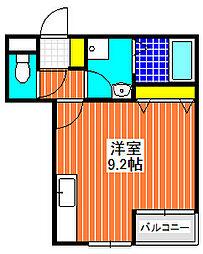 プライドール 3階ワンルームの間取り