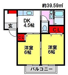 佐賀県三養基郡基山町大字小倉の賃貸アパートの間取り