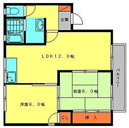 セジュールシャンセ[2階]の間取り