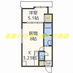 札幌市電2系統 中央区役所前駅 徒歩2分の賃貸マンション 3階1LDKの間取り