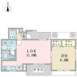 リアン西館 1階1LDKの間取り