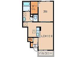 和歌山県和歌山市中野の賃貸アパートの間取り