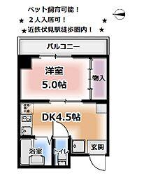 シフォン神泉苑[210号室]の間取り