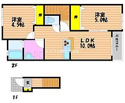 岡山県岡山市南区藤田の賃貸アパートの間取り