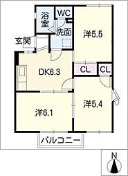 サンモールA棟[1階]の間取り