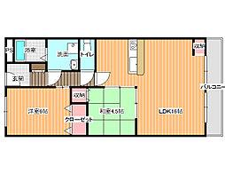 第5コーポ平野[4階]の間取り