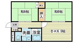 兵庫県姫路市夢前町前之庄の賃貸アパートの間取り