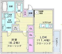 ベルティック 2階1LDKの間取り
