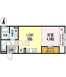 Osaka Metro谷町線 守口駅 徒歩18分の賃貸アパート 2階1LDKの間取り