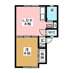 パナハイツ扇寿[1階]の間取り