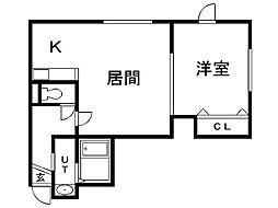 レユシール弐番館 2階1LDKの間取り