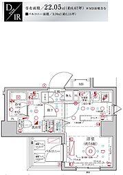 Le'a MARKS横濱参番館 7階ワンルームの間取り
