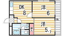 川田ハイツ[306号室]の間取り