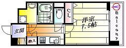 ベルヴィ江坂公園 8階1Kの間取り