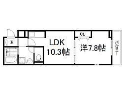 JR奈良線 新田駅 徒歩6分の賃貸アパート 2階1LDKの間取り