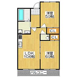 サングリーンハウス[310号室]の間取り