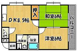 JR山陽本線 明石駅 バス22分 伊川谷出張所下車 徒歩5分の賃貸マンション 2階2DKの間取り
