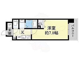 エスリード新大阪CONFORT2番館 2階1Kの間取り