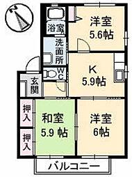 JR山陽本線 五日市駅 徒歩9分の賃貸アパート 2階3Kの間取り