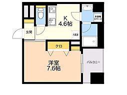 D-room gracious平尾 6階1DKの間取り