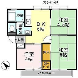 細川アーバンハイツ[B205号室]の間取り