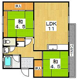 男山第二住宅111棟[3階]の間取り