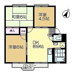 大崎台グリーンタウン3[2階]の間取り