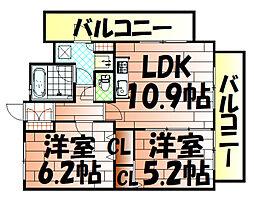 ルネッサンス21小倉東[205号室]の間取り