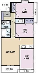 ラフィーネ掛川aI[3階]の間取り