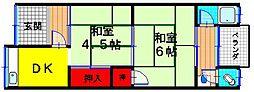 大阪府東大阪市中鴻池町2丁目の賃貸アパートの間取り