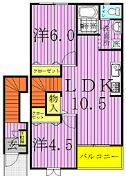 千葉県我孫子市新木の賃貸アパートの間取り